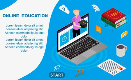 Online education or distance exam with isometric character internet course e-learning from home online studying on laptop with book isometric education landing page isolated vector illustration