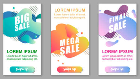 Dynamic modern fluid mobile for sale banners. Sale banner template design, Flash sale special offer set Stock fotó - 151017075