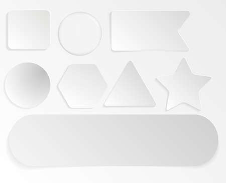 Set of white different shaped stickers and flags realistic style, vector illustration isolated on transparent background. Blank adhesive sheets of adhesive notes paper for labeling information