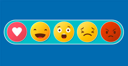 Set of social media reactions. Cute emoticons. Ilustrace
