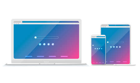 Set of Flat blank browser windows for different devices. Vector. Computer, tablet, phone sizes. 写真素材 - 151017258
