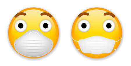Emoji with mouth mask - yellow face with closed eyes wearing a white surgical mask Stock fotó - 151017256