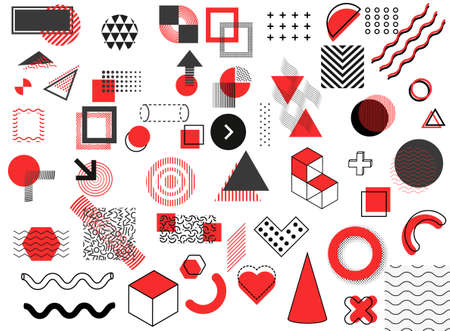 Abstract red and black geometric shape of modern elements cover design. Vector illustration eps10 写真素材 - 155206363