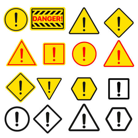 Set of typical danger and caution warning symbols 写真素材 - 155506160