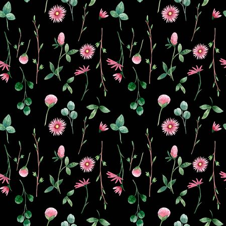 Botanical seamless pattern with wildflowers and herbs.
