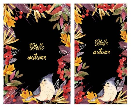 Design backgrounds for social media banners with autumn theme. Set of social media post frame templates.