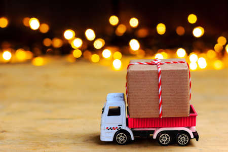 The truck delivers gifts. New year christmas picture