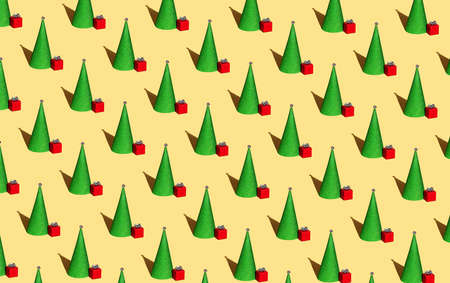 Christmas pattern from decorative fir tree and red gift on yellow background