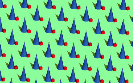 Blue Christmas tree in the form of a cone with a red gift on a green background. Christmas seamless pattern