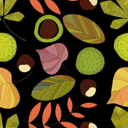 natura: Autumn composition of leaves and fruit trees on a dark background.Chestnuts. Seamless pattern. Illustration