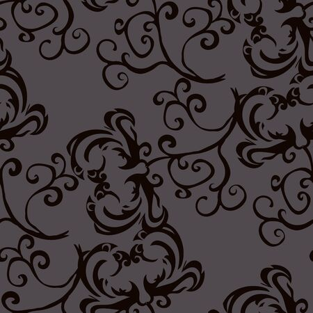 squiggles: Black pattern on a gray background.Seamless.