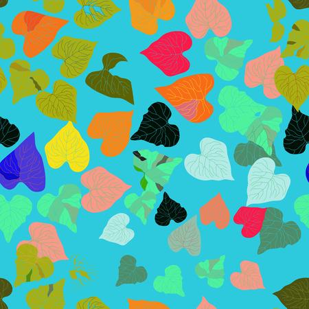 hojas de colores: Hojas de colores sobre un fondo azul turquesa. Sin costura.