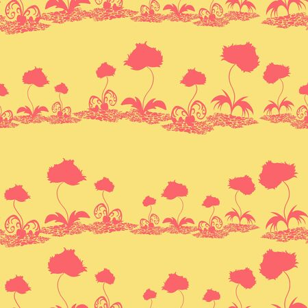 delicate: Delicate floral pattern in red on a yellow background. Seamless structure. Illustration