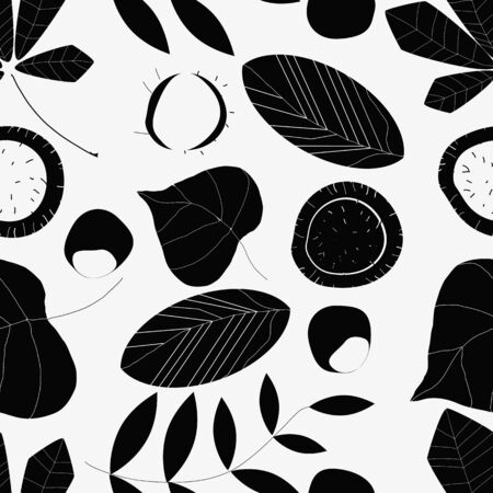 acabado: Black and white composition of leaves and chestnuts. Seamless. The finished composition for textile design. Wrapping paper, wallpaper. Vectores