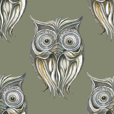 monochromatic: Background with monochromatic owls.Seamless.
