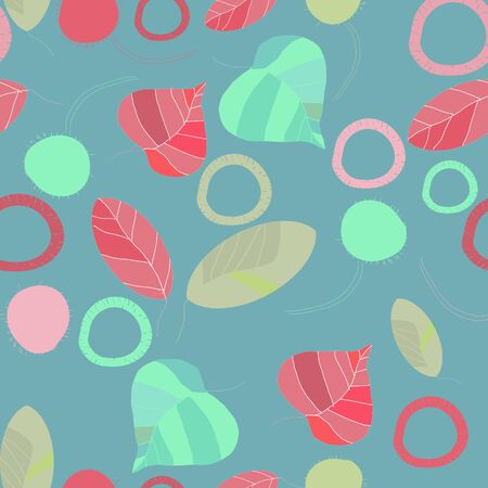 designing: Floral seamless decorative pattern with leafs on a gray-blue background. Seamless pattern.Template for Designing fabric or paper.