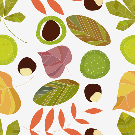 natura: Autumn composition of leaves on a white background. Seamless pattern. Illustration