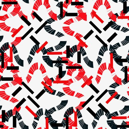 white background'abstract: Red and black figures on a white background. Abstract seamless.