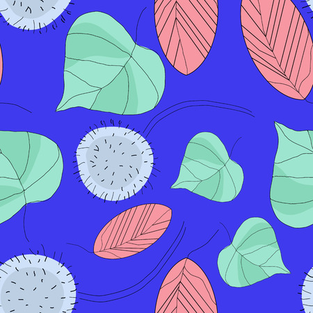 floristic: Floristic composition on a bright blue background. Seamless pattern. Design for textiles, paper, wallpaper, and more. Illustration