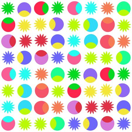 rainbow colours: The image is bright geometric shapes on a white background.