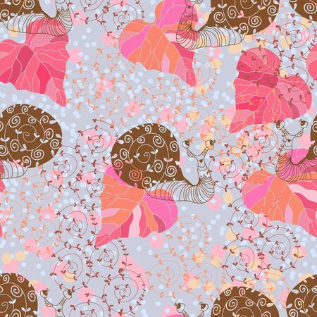 printing house: Cute background with snail in pastel colors.