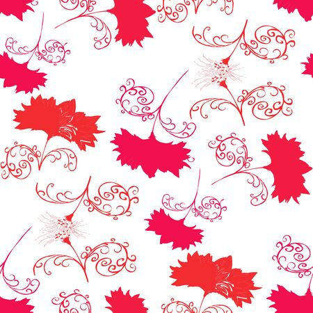 tactile: Red flowers on a white background.Seamless.