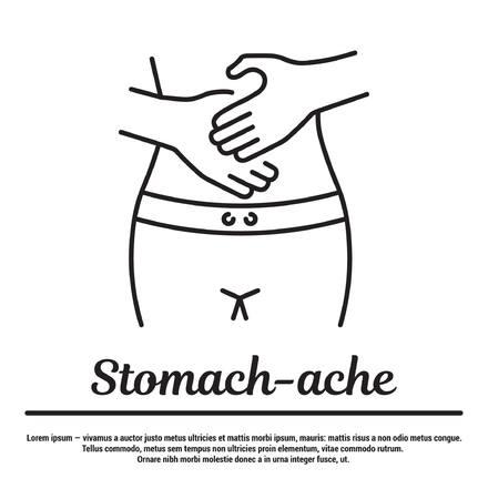 graficzne ikony w płaskim, konturowym, cienkim i liniowym wzornictwie.Z bóle brzucha. Przyczyny, objawy, choroby, choroby. Plakat, sztandar. Concept Infographic dla szpitala w sieci Web, aplikacja. Znak, symbol, godło. Ilustracje wektorowe