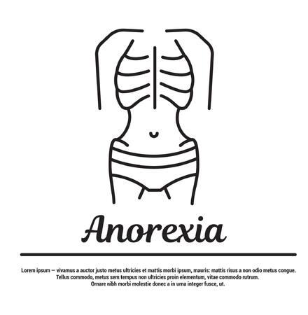 L'image du squelette, des os, du corps maigre. Silhouette, symbole de l'emblème. Infographie linéaire. Modèle pour le site Web et les applications Internet.
