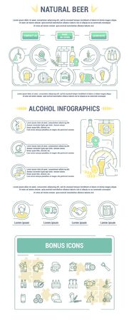 nonalcoholic: Landing page graphic set of icons in flat, contour, thin and linear design. Natural alcoholic and non-alcoholic beer. Concept infographic for Web site, app. Sign, symbol, emblem.