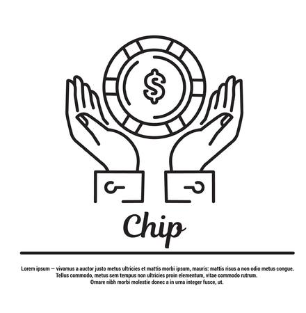 online roulette: graphic set. Icons in flat, contour, thin and linear design. Hands holding the casino chip.Simple icon on white background.Concept illustration for Web site, app. Sign, symbol, emblem.