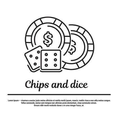 graphic set. Icons in flat, contour, thin and linear design. Chips and dice for game in the casino. Simple icon on white background.Concept illustration for Web site, app. Sign, symbol, emblem. Vektoros illusztráció