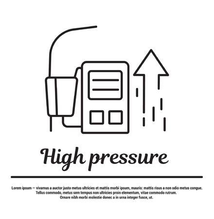 high pressure: graphic set of icons in flat, contour, thin and linear design. High pressure. Pressure measurement.Concept infographic for Web site, app. Sign, symbol, emblem.
