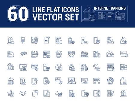 graphic set. Icons in flat, contour, thin and linear design. Internet banking. Modern technology.Simple icon on white background.Concept illustration for Web site, app. Sign, symbol, emblem.