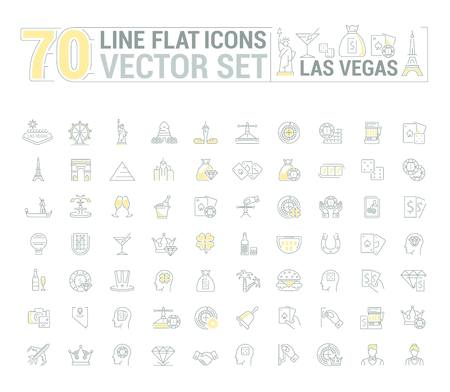 american roulette: graphic set of icons in flat, contour, thin and linear design. Las Vegas. Slot machine, casino, poker. Gambling. Concept infographics for entertainment city for Web site and app. Illustration