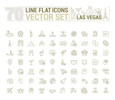 slot in: graphic set of icons in flat, contour, thin and linear design. Las Vegas. Slot machine, casino, poker. Gambling. Concept infographics for entertainment city for Web site and app. Illustration