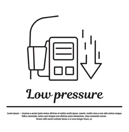 malaise: graphic set of icons in flat, contour, thin and linear design. Low pressure. Pressure measurement.Concept infographic for Web site, app. Sign, symbol, emblem.