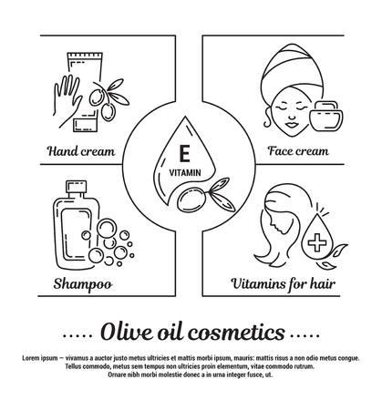 Conjunto de gráficos de iconos en el contorno, diseño plano, delgado y lineal. cosméticos de las mujeres naturales en base de aceite de oliva ecológico. Tienda de cosmética. infografía concepto de sitio Web, aplicación. Señal, símbolo, emblema.