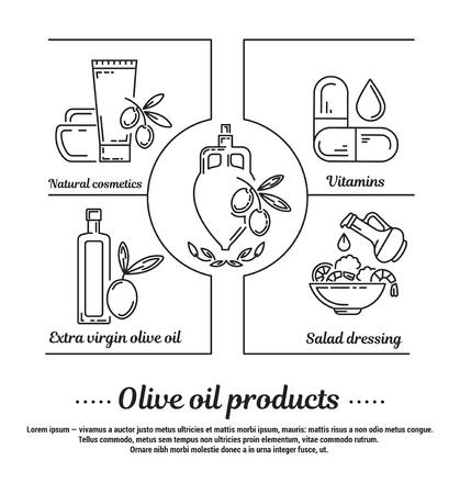 graphic set of icons in flat, contour, thin and linear design.Medicinal products based on olive oil. Natural foods, cosmetics and medicines. Concept for Web site, app. Sign, symbol, emblem.