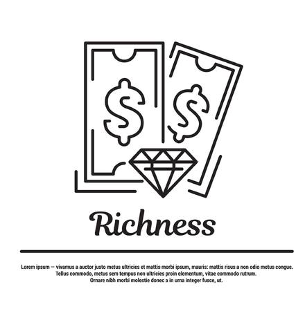 richness: graphic set. Icons in flat, contour, thin and linear design. Money, richness, diamond.Simple icon on white background.Concept illustration for Web site, app. Sign, symbol, emblem.