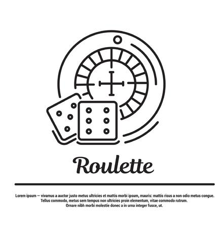 wheel of fortune: graphic set. Icons in flat, contour, thin and linear design. Roulette and dice. Casino. Simple icon on white background.Concept illustration for Web site, app. Sign, symbol, emblem.