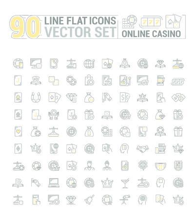 slot in: graphic set of icons in flat, contour, and linear design. Internet slot machine. Online casino, gambling and poker.Virtual card game. Paid entertainment. Concept illustration for Web site, app.