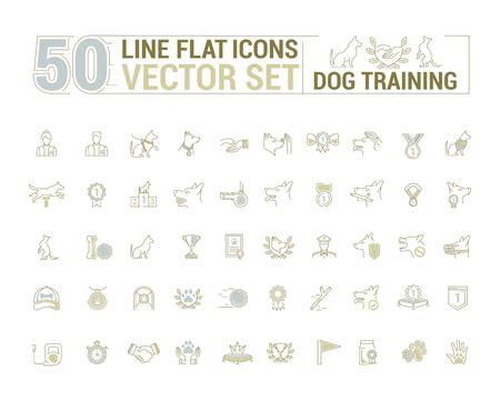 graphic set. Icons in flat, contour, thin and linear design.Process of dog training. Simple icon on white background.Concept illustration for Web site, app. Sign, symbol, emblem. Illustration
