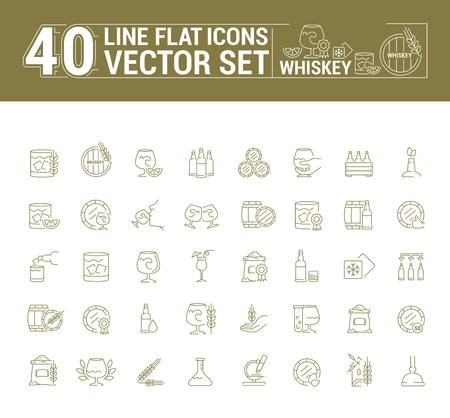 graphic set of icons in flat, contour, thin and linear design. Scottish, Irish alcoholic drink whiskey. Concept infographic for Web site, app. Sign, symbol, emblem.