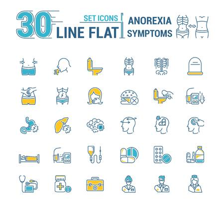 Vector set graphic logo, icon. Anorexy. Concept psychological disease. Vomitig, weight loss. Symptoms, disorder. Linear, flat, contour, thin. App, template, infographic. Symbol, element, emblem. Illustration