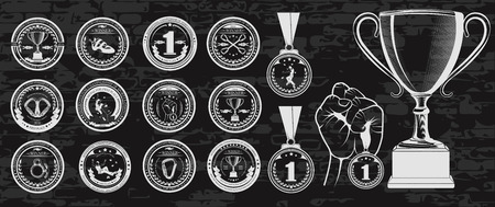 finalists: Vector set of logos medals for winners, Champions and finalists of the championship on sport climbing. Vector symbol of victory, the Cup for ceremony and hand with the medal.