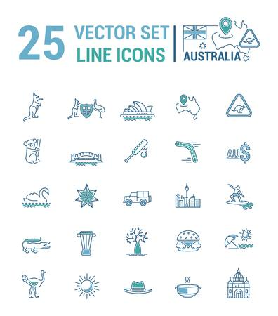 tv tower: Vector graphic set. Silhouette, logo, icon. Australian continent. Linear, flat, contour, thin. App, Web site template. Concept Australian culture, animals, traditions. Sign, element, emblem, symbol.