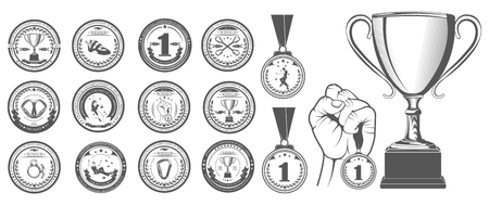 Vector set of logos medals for winners, Champions and finalists of the championship on sport climbing. Vector symbol of victory, the Cup for ceremony and hand with the medal.