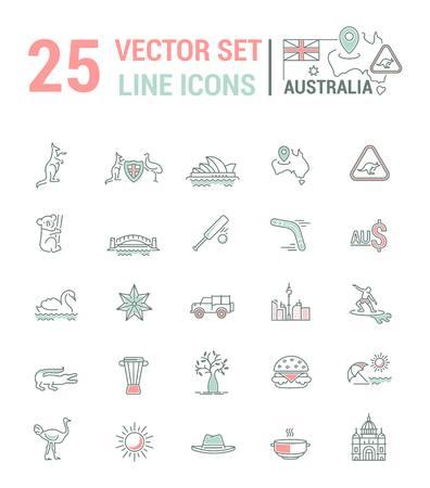 australian animals: Vector graphic set. Silhouette, logo, icon. Australian continent. Linear, flat, contour, thin. App, Web site template. Concept Australian culture, animals, traditions. Sign, element, emblem, symbol.