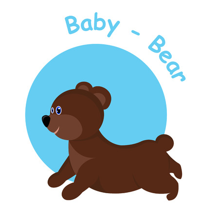 Illustration baby bear in blue and white bacground