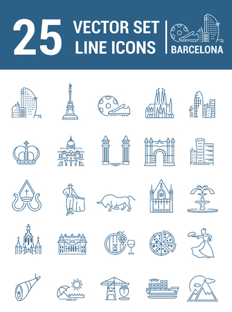 bullfighter: Set vector line icons in flat design with  Barcelona elements for mobile concepts and web apps. Collection modern infographic logo and pictogram.